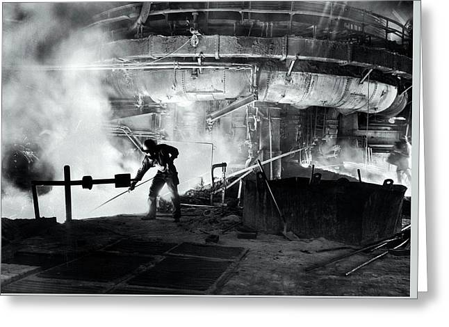 Steel Blast Furnace Slag Raker  1951 Greeting Card by Daniel Hagerman