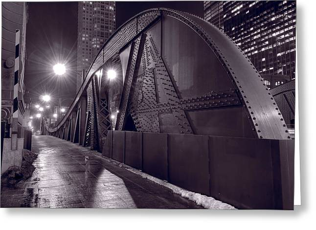 Bridge Greeting Cards - Steel Bridge Chicago Black and White Greeting Card by Steve Gadomski