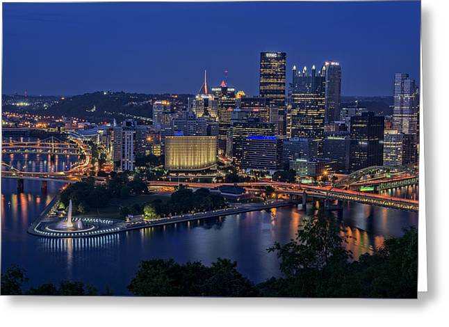 Steel City Glow Greeting Card by Rick Berk