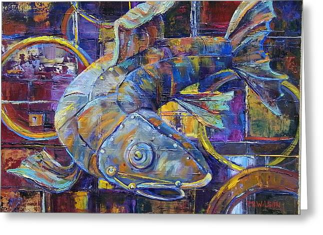 Salmon Paintings Greeting Cards - Steam Punk Steel Head Greeting Card by Peggy Wilson