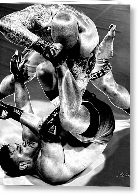 Action Sports Art Photographs Greeting Cards - Steel Men Fighting 3 Greeting Card by Frederic A Reinecke