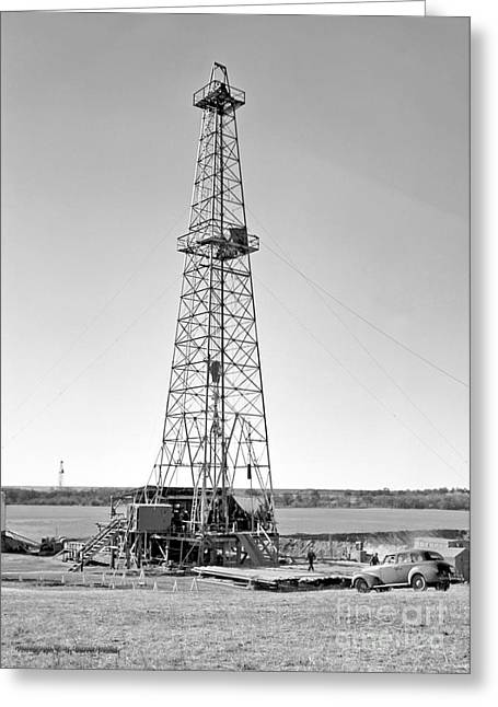 Nostalgic Greeting Cards - Steel Oil Derrick Greeting Card by Larry Keahey