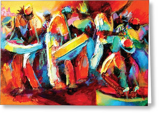 Mclean Greeting Cards - Steel Pan Revellers Greeting Card by Cynthia McLean
