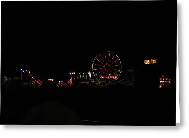 Amusements Greeting Cards - Steel Pier at night Greeting Card by Kenneth Summers