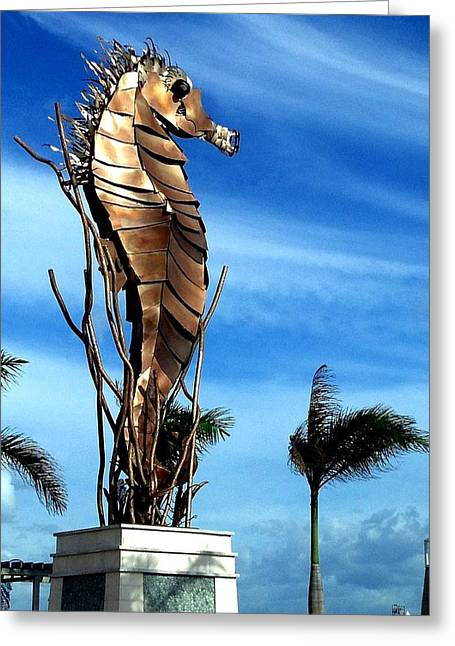 Steel Sculptures Greeting Cards - Steel Sea Horse Greeting Card by Llanos Colon