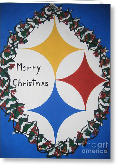 Painting By Jeff Koss Greeting Cards - Steelers Christmas Card Greeting Card by Jeffrey Koss