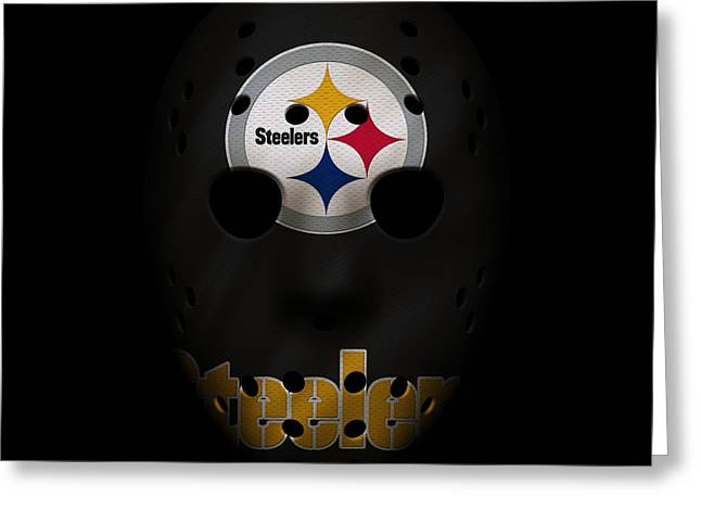 Steelers War Mask Greeting Card by Joe Hamilton