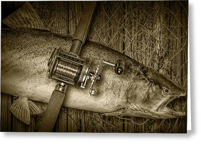 Trout Fishing Greeting Cards - Steelhead Trout Catch in Sepia Greeting Card by Randall Nyhof