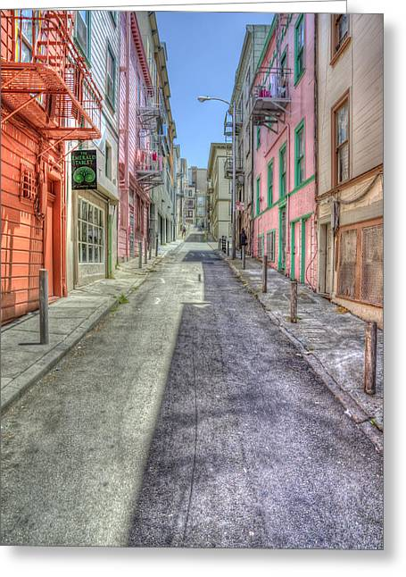 Pink Road Greeting Cards - Steep Street Greeting Card by Scott Norris
