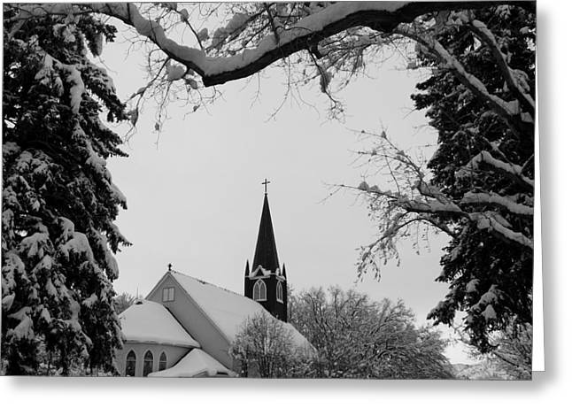 Lack And White Greeting Cards - Steeple Greeting Card by Kirk Griffith