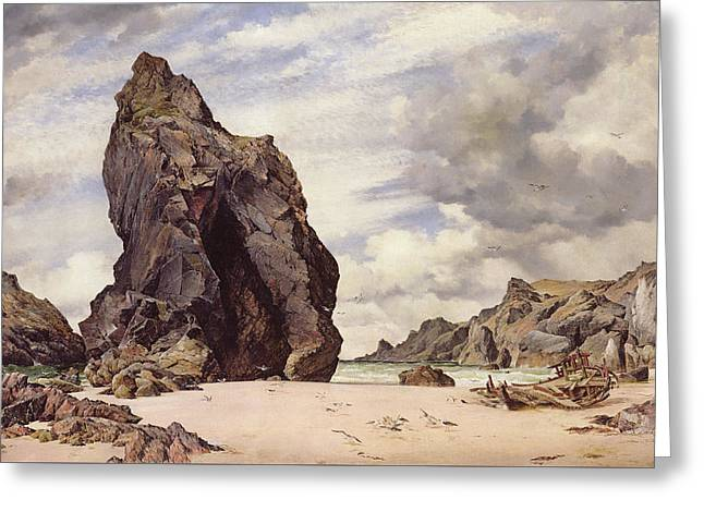 Steeple Rock, Kynance Cove, Lizard, Cornwall, Low Water, 1873 Greeting Card by Edward William Cooke