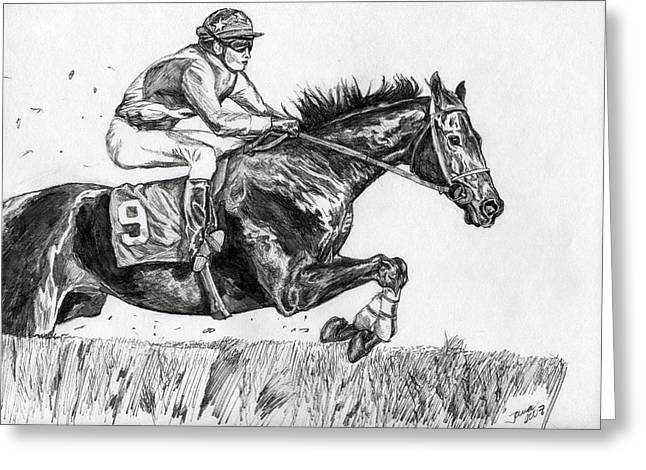 Steeplechase Race Greeting Cards - Steeplechase Greeting Card by Jana Goode