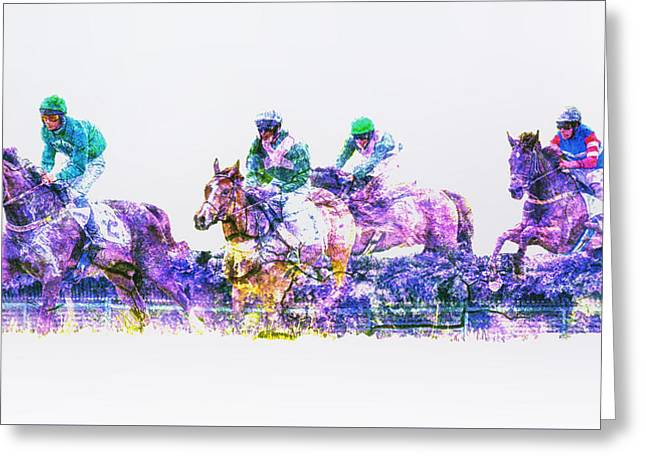 Race Horse Greeting Cards - Steeplechase Greeting Card by Larry Helms