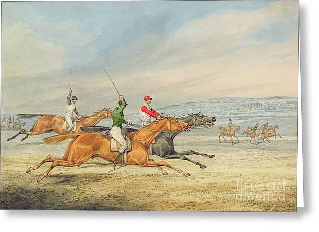 Graphite Greeting Cards - Steeplechasing Greeting Card by Henry Thomas Alken