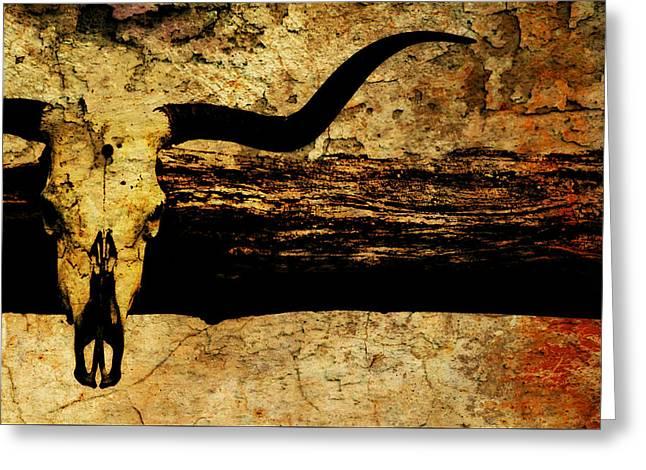 Steer Greeting Cards - Steer Skull Mount Greeting Card by Chastity Hoff