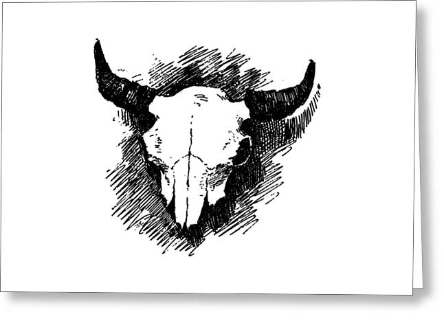 Steer Skull Tee Greeting Card by Edward Fielding