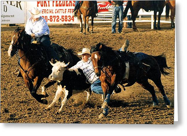 Steer Drawings Greeting Cards - Steer Wrestling 101 Greeting Card by Cheryl Poland