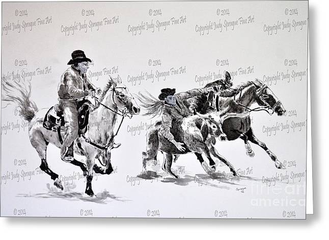 Steer Drawings Greeting Cards - Steer Wrestling Greeting Card by Judy Sprague