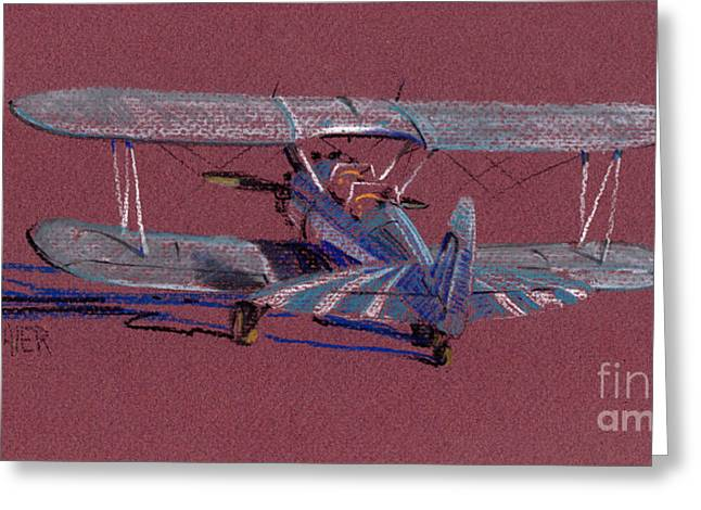 Airplane Pastels Greeting Cards - Steerman Biplane Greeting Card by Donald Maier