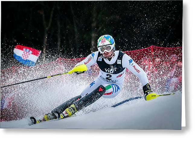 Stefano Gross On Snow Queen Trophy-zagreb Greeting Card by Roman Martin