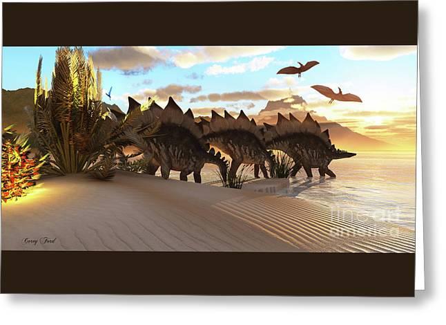 Stegosaurus Dinosaur Greeting Card by Corey Ford