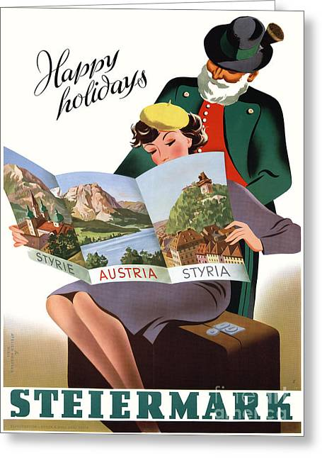 Styria Greeting Cards - Steiermark Styria Vintage Travel Poster Restored Greeting Card by Carsten Reisinger