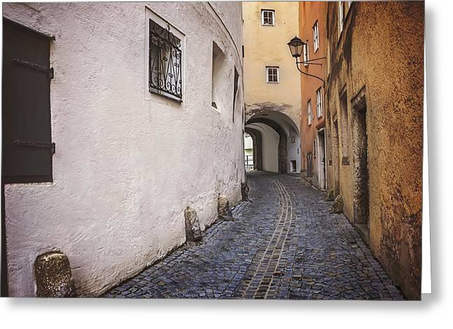 Steingasse Salzburg Greeting Card by Carol Japp