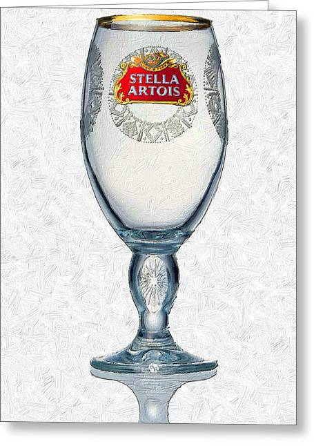 Gold Trim Greeting Cards - Stella Artois Chalice Painting Collectable Greeting Card by Tony Rubino
