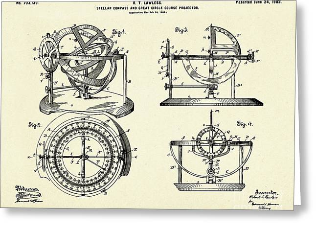 Stellar Compass And Great Circle Course Projector-1902 Greeting Card by Pablo Romero