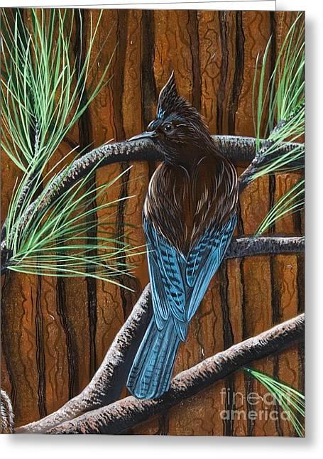 Recently Sold -  - Stellar Paintings Greeting Cards - Stellar Jay Greeting Card by Jennifer Lake