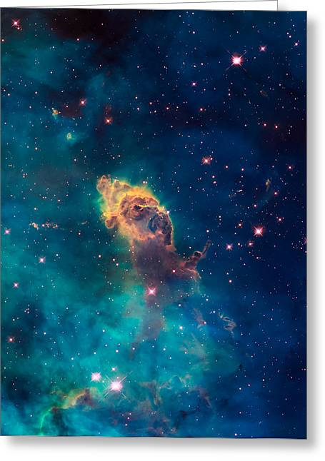 Jet Star Greeting Cards - Stellar Jet in the Carina Nebula Greeting Card by Space Art Pictures