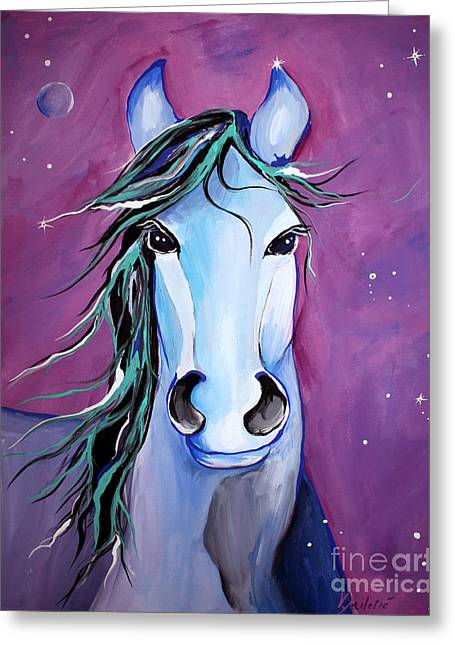 Stellar Paintings Greeting Cards - Stellar Whimsical Horse Art by Valentina Miletic Greeting Card by Valentina Miletic