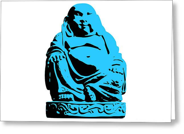 Buddhist Digital Greeting Cards - Stencil Buddha Greeting Card by Pixel Chimp