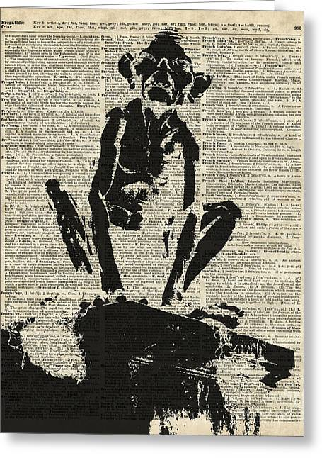 Stencil Of Gollum,smeagol Over Old Dictionary Page Greeting Card by Jacob Kuch
