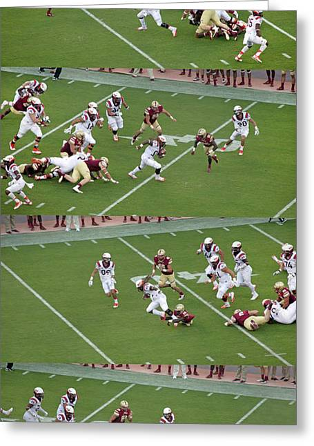Step By Step College Football Greeting Card by Betsy C Knapp