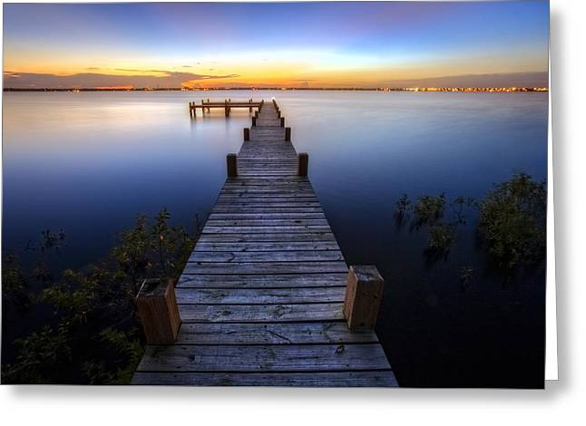 Beach At Night Greeting Cards - Step Into Dawn Greeting Card by Debra and Dave Vanderlaan