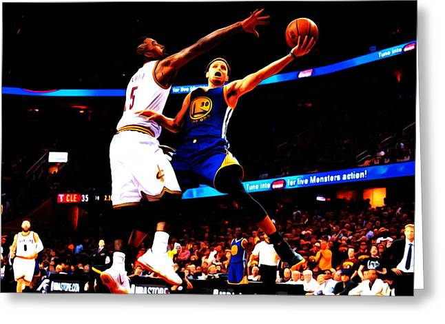 Michael Jordan Greeting Cards - Steph Curry Left Hand Greeting Card by Brian Reaves