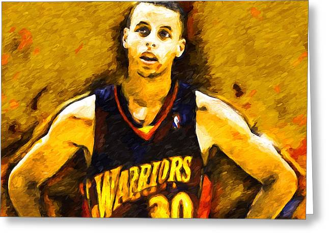 Basketballs Greeting Cards - Steph Curry What A Jumper Greeting Card by John Farr