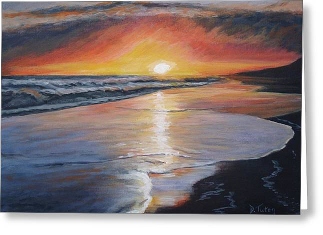 Reflection In Water Greeting Cards - Stephanies Sunset Greeting Card by Donna Tuten