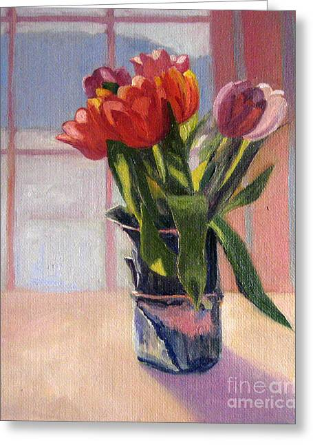 Best Sellers -  - Sunlight On Flowers Greeting Cards - Stephanies Vase with Red Tulips Greeting Card by Jane  Simonson