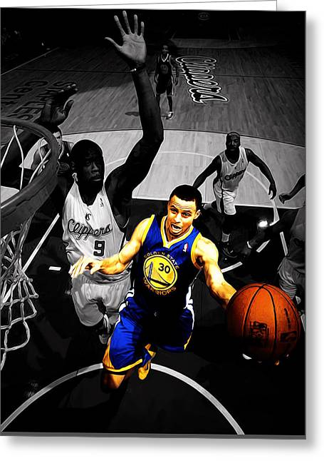 Stephen Curry In Traffic Greeting Card by Brian Reaves