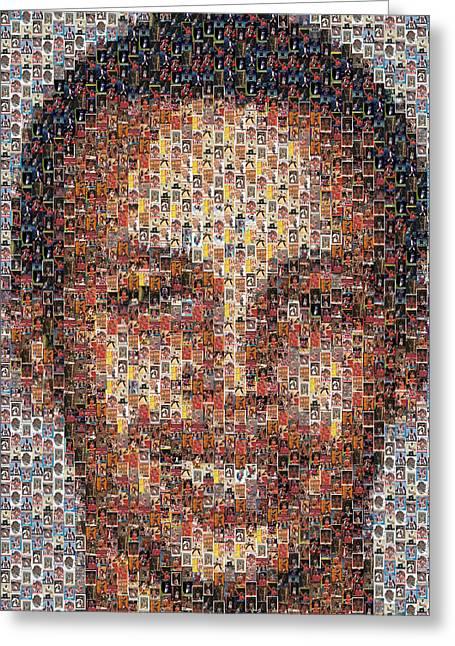 Stephen Curry Michael Jordan Card Mosaic Greeting Card by Paul Van Scott