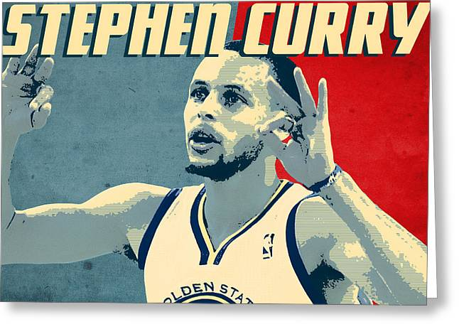 Golden State Warriors Digital Greeting Cards - Stephen Curry Greeting Card by Semih Yurdabak