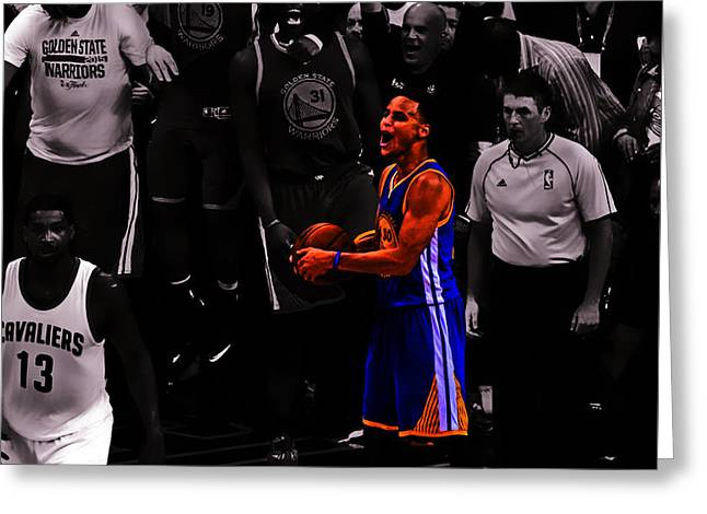 Valuable Mixed Media Greeting Cards - Stephen Curry Sweet Victory Greeting Card by Brian Reaves