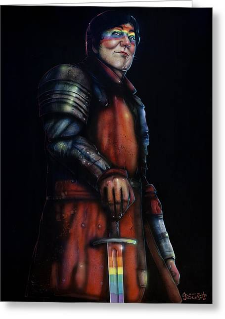 Stephen Fry As A Powerful Gay Knight With Rainbow Sword  Original Available Greeting Card by Jason  Wright