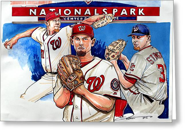 Washington Post Greeting Cards - Stephen Strasburg Greeting Card by Dave Olsen