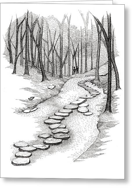 Stepping Stones Greeting Cards - Stepping Stones Greeting Card by Alpana Lele