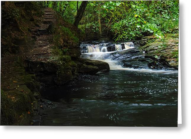 Woodland Scenes Greeting Cards - Steps And Waterfall Greeting Card by Felikss Veilands
