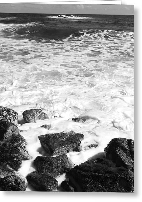 Kerri Ligatich Greeting Cards - Steps In To The Sea Greeting Card by Kerri Ligatich