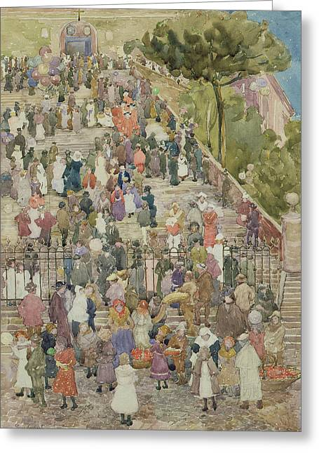Steps Of Santa Maria Aracoeli Greeting Card by Maurice Brazil Prendergast